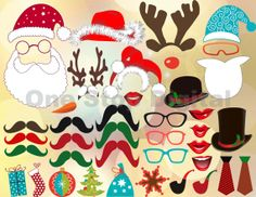 INSTANT DOWNLOAD: Digital Christmas Photo Booth Props Printable Christmas Photobooth Clip Art Digital Christmas Party DIY 0158