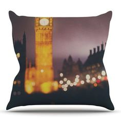 KESS InHouse Westminster at Night by Laura Evans Throw Pillow Size: