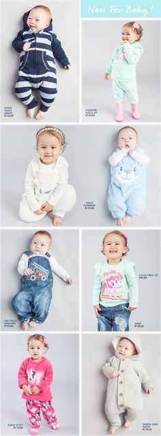 Clothing Baby - Pick n Pay A wide selection and collection of quality baby clothes and newborn clothing. From fleece wear to snowsuit. See how these winter warmers meet little prices Newborn Clothing, Newborn Outfits, Girl Outfits, Winter Warmers, Snow Suit, Cosy, Baby Girls, Latest Trends, Dressing