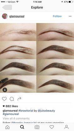 Brow tutorial - April 13 2019 at Eyebrow Game, Eyebrow Makeup Tips, Eyebrow Tinting, Eyeshadow Makeup, Beauty Makeup, Hair Makeup, Eyebrow Pencil, Makeup Eyes, Eyebrow Tutorial