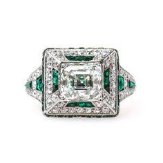 Classic Art Deco Diamond and Emerald Ring   Fairmont Park