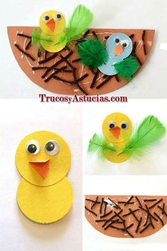 manualidad de primavera para niños hecha con cartulina