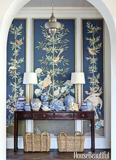 gallery-Summer Thornton-blue-entryway-with custom chinoiserie panels by Allison Cosmos -photo- Luke White -
