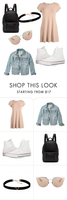 """casual back to school"" by scarlettpanda7898 ❤ liked on Polyvore featuring Hollister Co., Converse, PB 0110, Astrid & Miyu and Christian Dior"