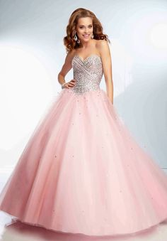 Ball Gown Strapless Sweetheart Long Light Pink Tulle Beaded Prom Dress Corset Back Sweet Sixteen Dresses, Sweet 16 Dresses, Pretty Dresses, Beautiful Dresses, Beautiful Clothes, Pink Ball Dresses, Quince Dresses, Ball Gown Dresses, Evening Dresses