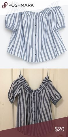 Striped top Off the shoulder striped top from Zara. Size small, only worn once! Zara Tops