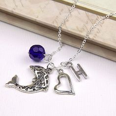 Personalized Dolphin Necklace with Your Initial and Birthstone