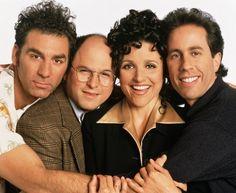 Still of Julia Louis-Dreyfus, Jerry Seinfeld, Jason Alexander and Michael Richards in Seinfeld