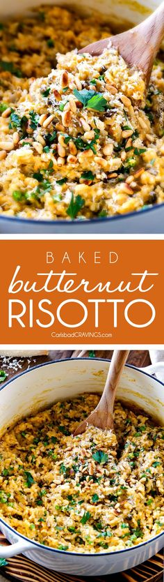 No Babysitting, easy, creamy BAKED Butternut Squash Risotto! This simple to prepare risotto is wonderfully smooth and creamy, seasoned to perfection and is absolutely fool proof! It makes the most amazing Thanksgiving or holiday side but is easy enough fo Side Dish Recipes, Vegetable Recipes, Vegetarian Recipes, Dinner Recipes, Cooking Recipes, Healthy Recipes, Chicken Recipes, Dessert Recipes, Korean Recipes