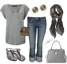 This is my go to outfit. Casual Grey Spring Outfit, loose grey knit top and sandals. Silver hoop earrings though. Don't forget the MaryKay Firecracker Red Lipstick! Mode Outfits, New Outfits, Fashion Outfits, Womens Fashion, Outfits 2014, Airport Outfits, Fashion Clothes, Girls Weekend Outfits, Fall Outfits