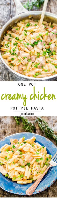 One Pot Creamy Chicken Pot Pie Pasta - tastes just like chicken pot pie but in pasta form and it's all done in one pot!
