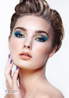 """Blend iridescent hues for a rich, vibrant look using blues, greens and violets."""