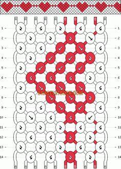Hearts friendship bracelet pattern.