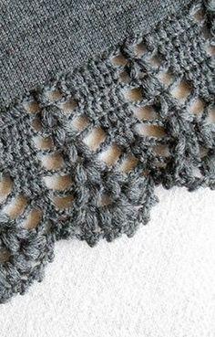 Crochet lace edging on knitted piece (stoles, shawls, ect) ~~ Узор для вязания каймы крючком