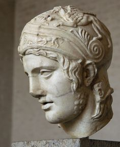 Head of Ares. Marble. After a cult statue by Alkamenes from the temple of Ares at Athens (430—420 B.C.). Inv. No. 212. Munich, Glyptotek.