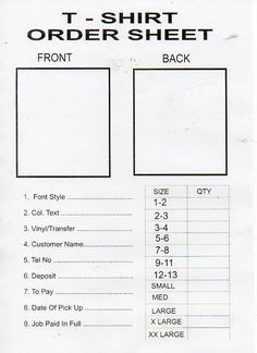 bf313d5651bc129efed3875004f8b956 T Shirt Printing Order Form Template on excel free, google sheets, word document,