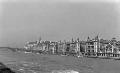 """St Thomas""""s Hospital, Lambeth, on May, Westminster Bridge and the recently completed County Hall can be seen in the background. photograph by A G Linney Old Hospital, Abandoned Hospital, Vintage London, Old London, London Free Museums, Edith Cavell, Uk Capital, Waterloo Station, Westminster Bridge"""