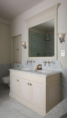 notice walls and backsplash, this gives a bathroom a vintage look. Charlie Kingham | Bathrooms | Bespoke Carrara Marble Sink Unit