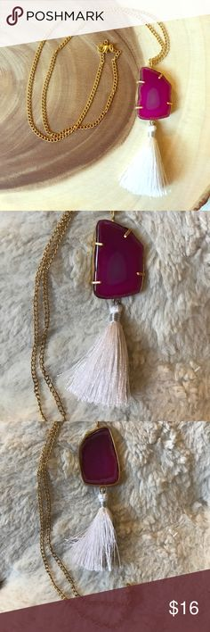 Fuchsia Agate Slice Tassel Necklace Beautiful and fun fuchsia colored agate slice necklace featuring a white cotton thread tassel and faux gold necklace/setting. Brand new without tags - handcrafted in India and bought direct from the artist. 100% of profits donated to charity. Jewelry Necklaces
