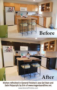 Great kitchen redo of oak cabinets using General Finishes, http://www.generalfinishes.com, Java Gel Stain and Satin Polyacrylic. Nice job Erin of www.magentaandlime.net! General Finishes Gel Stain and Polyacrylic are available at Rockler & Woodcraft Woodworking Stores, or use the store locator to buy in the U.S., U.K and Canada.