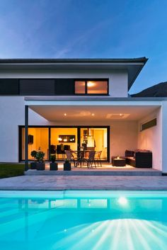 Detached house # Satteins # Solid construction # Pool # Modern single-family house # design House # with pool # Living design Modern Family House, Modern House Design, Facade Design, Exterior Design, Moderne Pools, Facade House, House Facades, House Exteriors, Dream House Plans