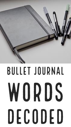 """Many bullet journal words are unheard of outside the journaling / planner online communities. In order to help you decode things like """"bujo"""" and """"future log,"""" in this post I'll walk you through a few . Bullet Journal Contents, Bullet Journal Hacks, Bullet Journal Printables, Bullet Journal 2019, Bullet Journal Layout, Bullet Journal Inspiration, Bullet Journals, Writing Instruments, Modern Calligraphy"""