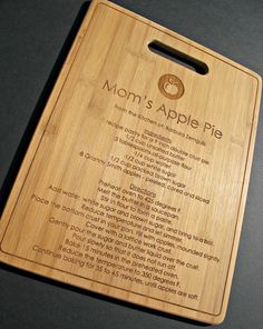 Family Recipe - Custom Engraved Bamboo Cutting Board - small - 8.5 x 11- Personalized. $20.00, via Etsy.