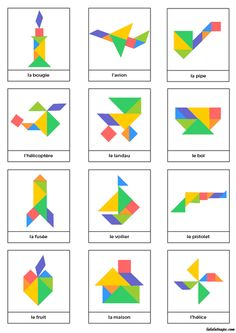 Tangrams to print - Lulu the mole, free games for kids Ce fantastic return on Montessori Activities, Preschool Math, Learning Activities, Activities For Kids, Tangram Printable, Tangram Puzzles, Busy Boxes, Learning Shapes, Math Art