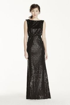 Versatile and stunning all-over sequined blouson long sheath dress with cap sleeves.   Stunning all over sequin cap sleeve blouson dress. V back provides dramatic back appeal. 94% Polyester, 6% Spandex Fully lined. Back zip. Dry clean only. To protect your dress, try our Non Woven Garment Bag.