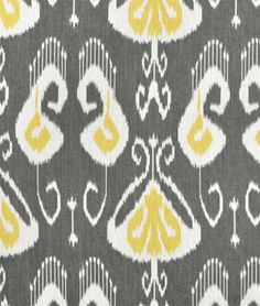 Portfolio Bansuri Storm Fabric -- yellow, white and gray Ikat fabric