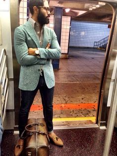 #jade tweed jacket #glasses #casual business man style