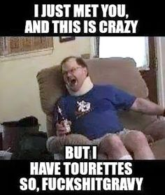 I just met you and this is crazy. I have tourettes so fuckshitgravy