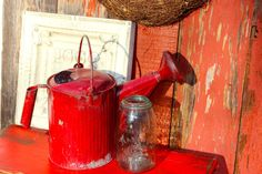 Spectacular Vintage Watering Can  Bright Red by Junkin2Jewels