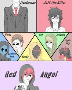 Slenderman, Jeff The Killer, Eyeless Jack, Masky, Hoody, Ben Drowned, Smile Dog and Red Angel