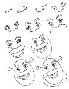 Art Drawings For Kids, Art Drawings Sketches, Easy Drawings, Easy Cartoon Drawings, Disney Sketches, Disney Drawings, Drawing Cartoon Characters, Cartoon Art, Shrek Drawing
