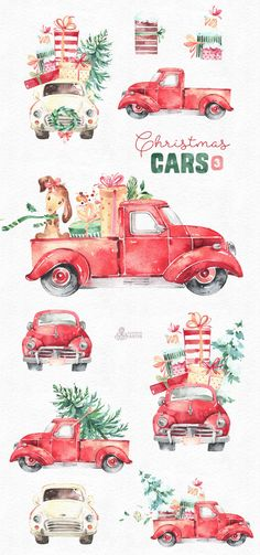 Christmas Cars 3. Watercolor holiday clipart vintage retro