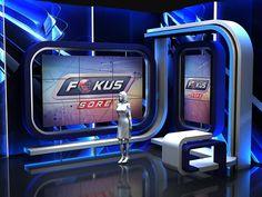 "News Stage ""Fokus"" Indosiar on Behance Tv Set Design, Stage Set Design, Display Design, Booth Design, Snapshot Photography, Virtual Studio, Green Screen Backgrounds, Tv Sets, Catalog Design"