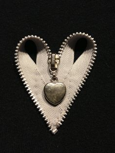 Gray Heart Zipper Brooch with Heart Charm by SandmansDream on Etsy, $6.00