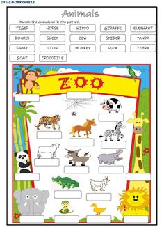 Animals Language: English Grade/level: Grade 2 School subject: English as a Second Language (ESL) Main content: Animals Other contents: Likes and dislikes, abilities English Games For Kids, English Worksheets For Kids, English Activities, English Fun, English Lessons, Preschool Journals, Preschool Printables, Animal Worksheets, Vocabulary Worksheets