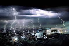 Wallpaper image: Photoshop lightning storm Mercedes ad, Surreal Art, 2D Digital Art, Photography, photomanipulation photos, photographs. Matte painting fine arts picture gallery show software.
