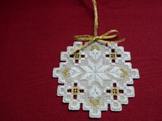 Mushroom, Ivory and Gold Hardanger Ornament
