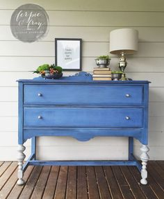 Federal Blue milk paint buffet by Amanda of Ferpie and Fray.