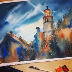 Beautiful #architecture #illustration by Natalya Gabitova (@aily_shamanka) of a lighthouse illuminating the night sky basking the houses and trees in shadow.  The cascading lights across the clouds of the sky are gorgeous and I love how Natalya used only a few base colors (three perhaps?) across the entire painting. There is the coppery rust color in lighthouse building roofs and the lighter part of the shadowy areas a dark midnight blue for the darkest part of the sky some shadowy areas…