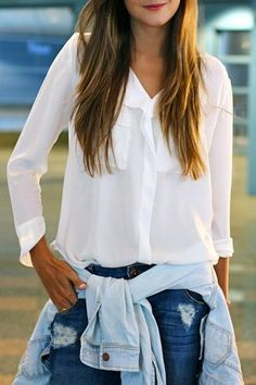 White V Neck Long Sleeve Shirt
