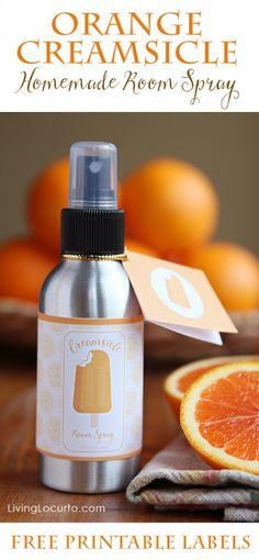 Orange Creamsicle Essential Oil Room Spray |Free Printables
