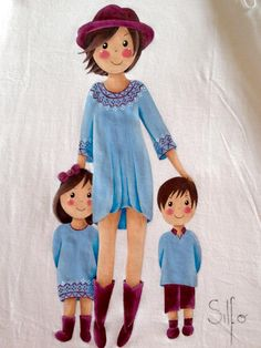 Fabric Painting, Diy Painting, Doll Drawing, My Children Quotes, Family Drawing, Mother Art, Family Illustration, Girl With Hat, Mothers Love