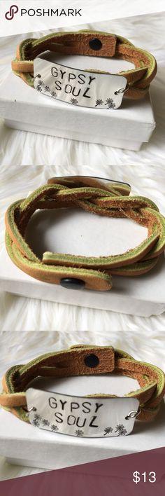 Leather gypsy soul bracelet Tan & green leather gypsy soul bracelet Gypsy Soul Jewelry Bracelets
