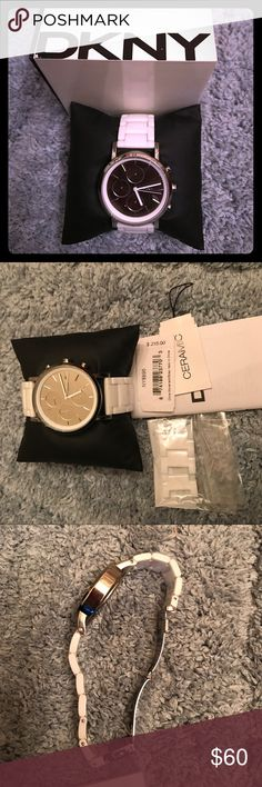 DKNY watch white w/ceramic links DKNY white ceramic link watch. Worn only a couple of times. Extra links included. Comes in original box. Needs battery. Pet free home. Offers welcomed. Thanks! Dkny Accessories Watches