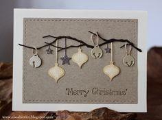 card christmas woodland branch die, ornament, ornaments, jingle bells, stars - jule bjælder -