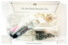 February 2014 Project DIY: On the Rocks Bracelet Duo. Each bracelet features an eye-catching stone surrounded by a chunky silver or gold chain. Price: USD $30/month -- #projectdiy #handmade #accessories #diy #jewelry #subscriptionbox #fashion #belt #bracelet